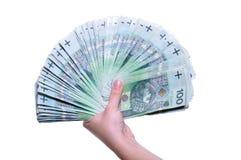 Polnische Banknoten in der Hand Lizenzfreie Stockfotos