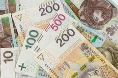 Polnische Banknoten Zloty 100, 200 und 500 Lizenzfreie Stockfotografie