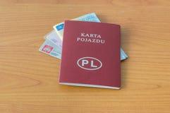 Polnische Dokumente Identifikation, Führerschein, Zulassung- für Fahrzeugezertifikat und Fahrzeuglizenz stockbilder