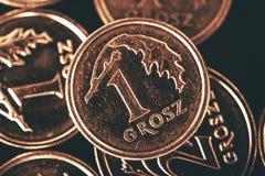 Polnische einzelne Grosz-Münze Stockbild