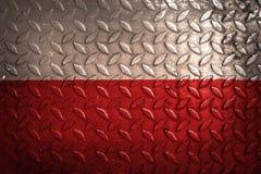 Polnische Flagge, Metallbeschaffenheit auf Hintergrund Lizenzfreies Stockfoto