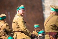 Polnische Kavallerie während des Jahrbuches des polnischen nationalen und gesetzlichen Feiertages der Konstitutions-Tag am 3. Mai Lizenzfreie Stockbilder