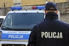 Polnische Polizei unterzeichnet Lizenzfreies Stockfoto