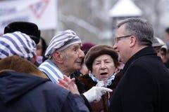 Polnische Präsident BronisÅ 'Aw Komorowski, 70. Tag der Befreiung auf Nazi German-concentraction Lizenzfreie Stockbilder