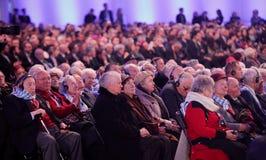 Polnische Präsident BronisÅ 'Aw Komorowski, 70. Tag der Befreiung auf Nazi German-concentraction Lizenzfreies Stockbild