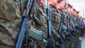 Polnische Soldaten auf Schutz der Zeremonie ist das Versprechen von ersten Klassen der Highschool Jan.s III Sobieski Lizenzfreies Stockbild