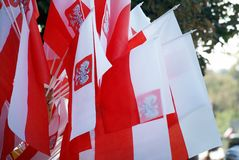 Polnische Staatsflaggen Stockfotos