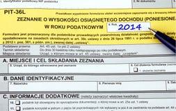 Polnische Steuerformulare, PIT-36L Stockfotos