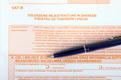 Polnische Steuerformulare, VAT-R Stockbilder