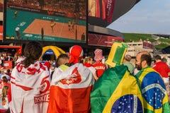 Polnische und brasilianische Fans Stockbild