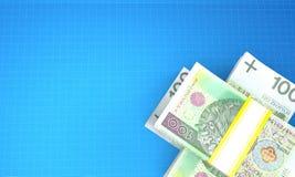 Polnische Währung auf Plan stock abbildung