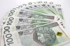 Polnische Währung Fan des Polnischen 100 Zlotybanknoten Stockfoto