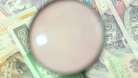 Polnische Zlotybanknoten mit Lupe stock footage