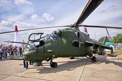 Polnischer Hubschrauberangriff Mi-24 auf Radom Airshow, Polen Stockfotografie