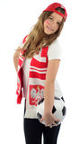 Polnischer Jugendlicher der Schönheit jubelt Fußballteam zu Lizenzfreies Stockbild