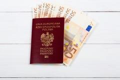 Polnischer Pass mit der europäischen Währung Lizenzfreie Stockbilder