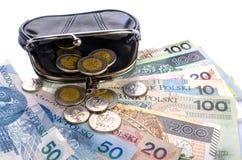 Polnischer Zloty im schwarzen Geldbeutel und Münzen auf einem weißen Hintergrund Lizenzfreie Stockfotos