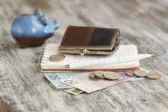 Polnischer Zloty mit kleinen Geldbörsen und Sparschwein auf dem hölzernen Hintergrund Lizenzfreie Stockbilder