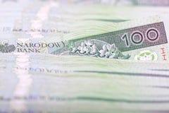 Polnisches Bargeld 100 PLN Stockfotos