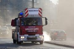 Polnisches Feuer-Service-Notfahrzeug - Krakau Stockfotos