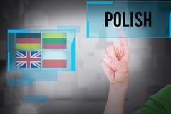 Polnisches gegen Raum mit sich hin- und herbewegenden Würfeln Lizenzfreies Stockfoto