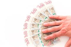 Polnisches Geld, die höchste Bezeichnung/weißer Hintergrund stockbilder