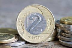 Polnisches Geld prägt Makro Lizenzfreie Stockfotos