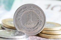Polnisches Geld prägt Makro Stockbild