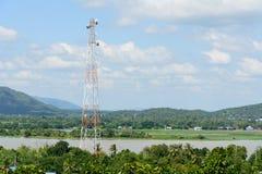 Polo alto do sinal com céu azul Foto de Stock Royalty Free