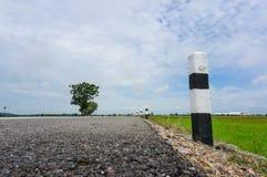 Polo blanco y negro en borde del camino Foto de archivo