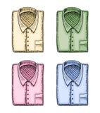 Polo blu o camicia, uomo classico ed accessorio inciso disegnato a mano nel vecchio schizzo d'annata illustrazione vettoriale