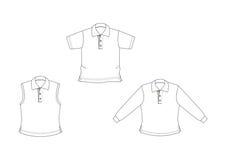 Polo-chemises blanches et tracées les grandes lignes Images stock