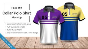 Polo collar t-shirt template, Vector eps10 file fully layered and editable prepared to showcase the custom design vector illustration