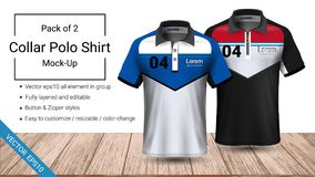Polo collar t-shirt template, Vector eps10 file fully layered and editable prepared to showcase the custom design. By simply editinng the object and color vector illustration