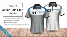 Polo collar t-shirt template, Vector eps10 file fully layered and editable prepared to showcase the custom design. By simply editinng the object and color stock illustration