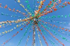 Polo com a decoração da festão da flor na ilha de Madeira Fotografia de Stock Royalty Free