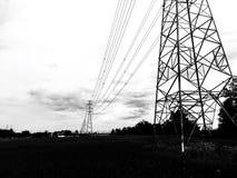 Polo de alta tensão da energia elétrica com vária fiação através do campo do arroz fotografia de stock