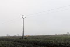 Polo de la electricidad en el medio de la naturaleza fotografía de archivo libre de regalías