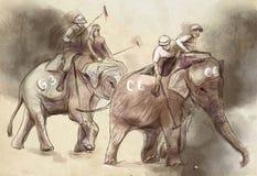 Polo del elefante Un ejemplo dibujado mano Dibujo a pulso, pai libre illustration