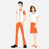 Polo del modelo de la ropa, hombre modelo y mujer, ropa para el personal corporativo, el cajero de la tienda Imagen de archivo libre de regalías
