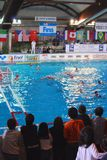 Polo di acqua delle donne. La Italia-Russia finale Fotografia Stock Libera da Diritti