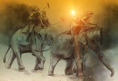 Polo do elefante Uma ilustração tirada mão Desenho a mão livre, pai ilustração royalty free