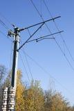 Polo electrificado ferrocarril Imágenes de archivo libres de regalías