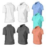 Polo-half-turned-color. Men's short sleeve polo-shirt design templates (half-turned views). Vector illustration. No mesh Royalty Free Stock Photo
