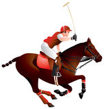 Polo horse and player. Vector image, the king of sports, hockey on horseback, team sport, polo pony, rider, long-handled mallet stock illustration