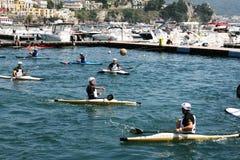 Polo kayak match Stock Images
