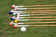 Polo mallets. Mallets before the polo game Royalty Free Stock Photography