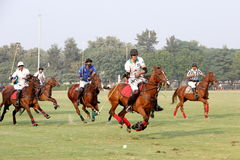 POLO MATCH AT JAIPUR POLO GROUND, NEW DELHI. Two players disputing the ball in a polo match. It's a team sport played on horseback. The objective is to score Stock Photography