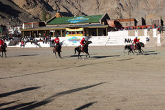Polo match on Ladakh festifal. Action shot of a polo match  2011 on the 3th of September, the Leh, the Ladakh, India Royalty Free Stock Image