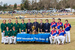 Polo Match Team Portraits Sponsor. Polo match between Chile South-Africa teams portrait with sponsor bmw at Shongweni Equestrian polo field South-Africa royalty free stock images